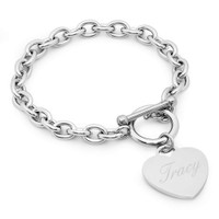 Personalized Stainless Steel Heart Charm Bracelet
