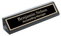 "Personalized 10"" Genuine Black Marble Desk Wedge"
