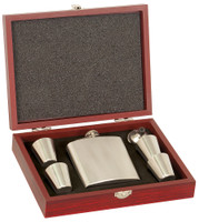 6 oz Stainless Steel Flask Set in Wood Presentation Box