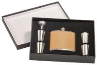 6 oz Leather Flask Set in Black Presentation Box