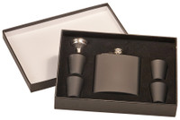 6 oz Matt Black Flask Set in Black Presentation Box