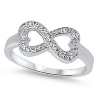 Personalized Sterling Silver Infinity Heart Ring with CZ