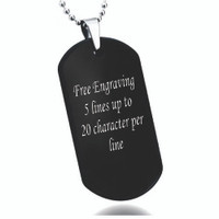 Personalized High Polish Black Tungsten Carbide Dog Tag pendant