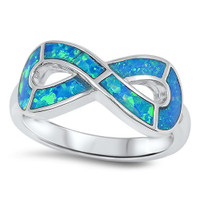 Personalized Sterling Silver Infinity lab Opal Ring