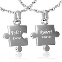 Personalized Stainless Steel 2-Part Jigsaw Couple Pendant