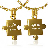 Personalized Stainless Steel Gold Color 2-Part Jigsaw Couple Pendant