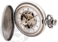 Charles-Hubert Paris Antique Chrome Finish Hunter Case Mechanical Pocket Watch