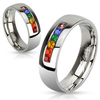 6mm Stainless Steel Ring with Rainbow Color Gems