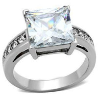 Princess Cut CZ Stainless Steel Ring - Free Engraving