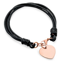 Personalized Rose Gold Color Heart Charm Bracelet with Leather