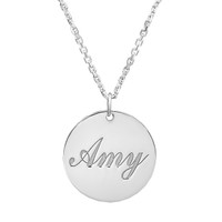 Sterling Silver Small Round Pendant - Free Engraving