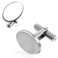 Personalized Stainless Steel Oval Cufflinks - Free Engraving