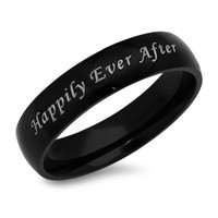 Happily Ever After Stainless Steel Black Promise Ring