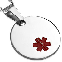 Quality Stainless Steel Circle Medical ID Pendant