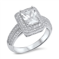 Personalized Ring Sterling Silver with Clear CZ
