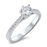 Personalized Ring Sterling Silver with Clear CZ - Free Engraving