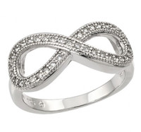 Sterling Silver Rhodium Plated Infinity Ring