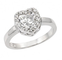 Sterling Silver Rhodium Plated Clear CZ Heart Ring