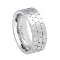8mm - White Titanium Ring Pipe-Cut Brick Pattern Design
