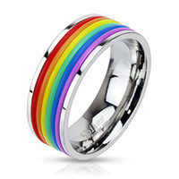 Personalized Rainbow Rubber Stripped Stainless Steel Band Ring
