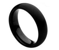 Brushed Black Enamel Tungsten Carbide Classic Domed Band 6mm