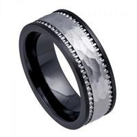 Black Ceramic Ring With Textured Hammered Tungsten Inlay - 8mm