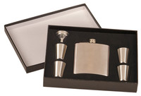 Personalized 6 oz Stainles Steel Flask Set in Black Presentation Box