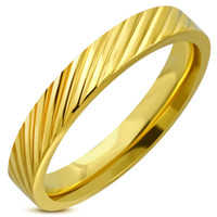 4mm Stainless Steel Gold Color Grooved Comfort Fit Band Ring
