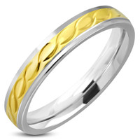 4mm Stainless Steel 2-tone Celtic Twisted Comfort Fit Band Ring