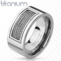 Personalized Wired Inlayed Titanium Ring