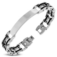 Stainless Steel With Black Rubber ID Bracelet - Free Engraving