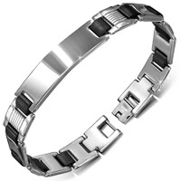 Personalized Stainless Steel Bracelet With Black Rubber - Free Engraving