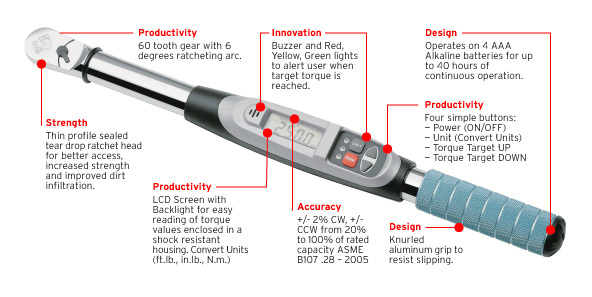 """Electronic Torque Wrench >> Armstrong Tools 1/2"""" Drive Electronic Torque Wrench 25-250 FT.LB. 64-544 - ML Tools & Equipment,LLC"""