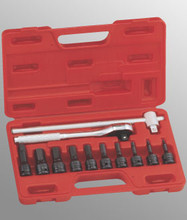 "Genius Tools Metric 1/2"" Drive Hex Head Socket Set 12 Pc TH-412H"