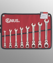Genius Tools SAE Combination Flex Head Gear Wrench 8 Pc Set GW-7308S
