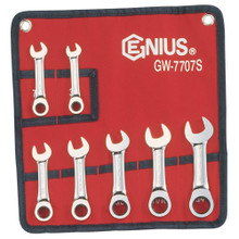 Genius Tools SAE Combination Stubby Ratcheting Wrench 7 Pc Set GW-7707S