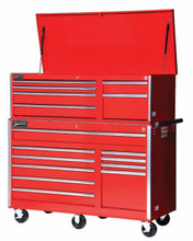 "Williams 10 Drawer Super Value Roll Cabinet 56"" X 24"" Red 50765 (Top Chest NOT included)"