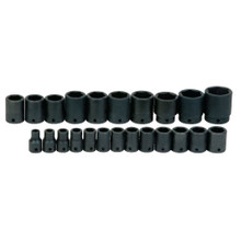 "Williams Tools USA Metric 1/2"" Drive Shallow Impact 6 Point Sockets Set 23-Pcs MS-4-23RC"