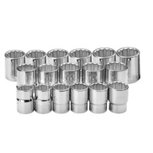 "Williams Tools Metric 3/4"" Drive Shallow 12 Point Sockets Set 24-Pcs 33930"