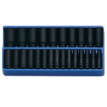 "Genius Tools Metric 1/2"" Drive Deep Impact 6 Point Socket 25 Pc Set DI-425M"