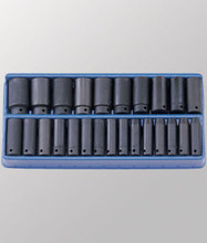 "Genius Tools Metric 1/2"" Drive Deep Impact 6 Point Socket 25 Pc Set TF-425MD"