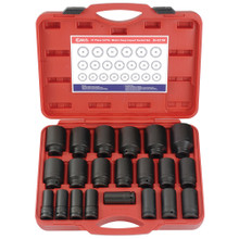 "Genius Tools Metric 3/4"" Drive Deep Impact 6 Point Socket 21 Pc Set DI-621M"