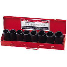 "Genius Tools SAE 3/4"" Drive Impact 6 Point Socket 8 Pc Set CM-023-1"