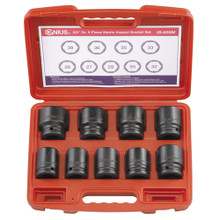 "Genius Tools Metric 3/4"" Drive Impact 6 Point Socket 9 Pc Set IS-609M"