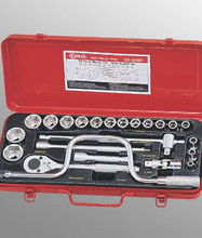 "Genius Tools Metric 1/2"" Drive Hand 6 Point Socket 24 Pc Set GS-424M4"