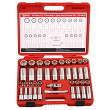 "Genius Tools Metric 1/2"" Drive Deep Hand 6 Point Socket 40 Pc Set DS-440M"