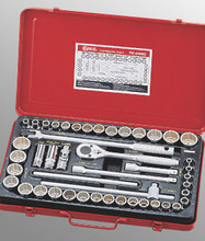 "Genius Tools SAE & Metric 1/2"" Drive Hand 12 Point Socket 46 Pc Set TW-446MS"