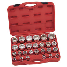 "Genius Tools Metric 3/4"" Drive Hand 6 Point Socket 27 Pc Set GS-627M"