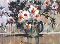 Matilija Poppies in Blue Bowl II