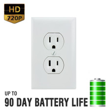 720P HD Motion Activated Electrical Outlet Hidden Camera with Up to 90 Day Battery Life